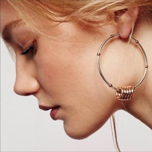 Free People Silver & Copper Hoop Earring Set